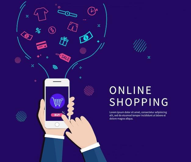 Geschäftsmänner, die online mit smartphone kaufen. Premium Vektoren