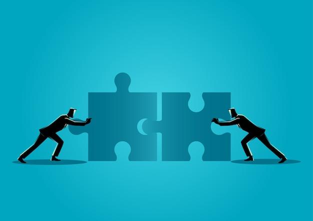 Geschäftsmänner, die zwei zackige stücke drücken Premium Vektoren