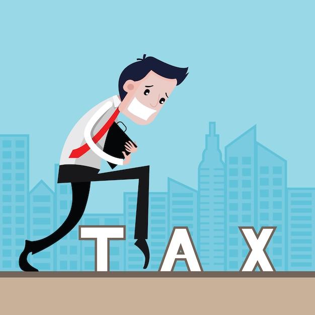 Geschäftsmänner gehen steuerhinterziehung, geschäftskonzept, vektorkarikatur Premium Vektoren