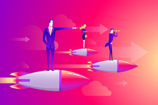 Geschäftsmännerteam, das auf dem raketenschiff durch fliegt auf himmel steht. Premium Vektoren