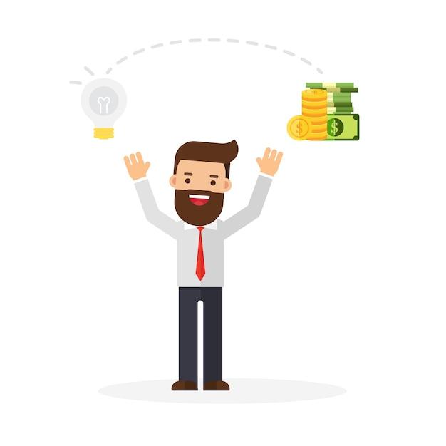Geschäftsmann ändern ideen in geld Premium Vektoren