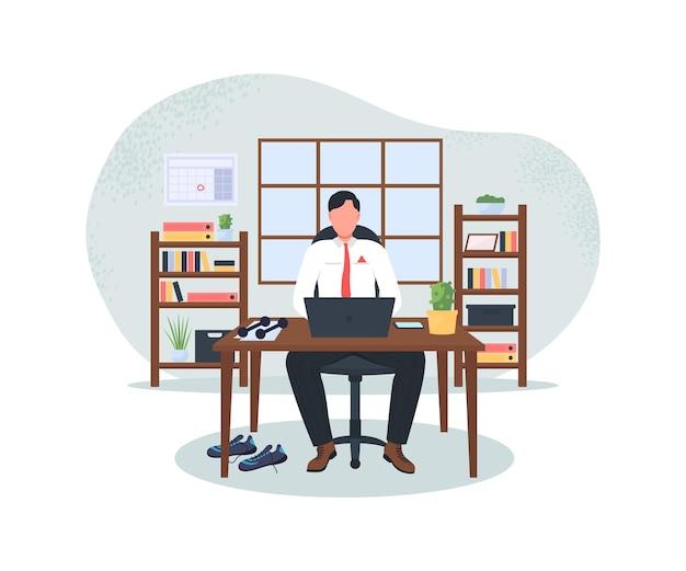 Geschäftsmann am computer nach dem training 2d-web-banner, posterillustration Premium Vektoren