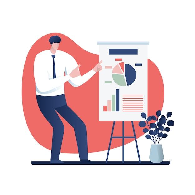 Geschäftsmann an einer darstellung geschäftskonzept-karikaturillustration Premium Vektoren
