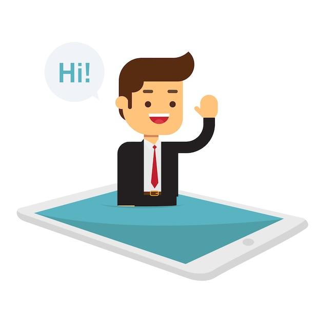 Geschäftsmann auf der webseite auf laptopbildschirm Premium Vektoren