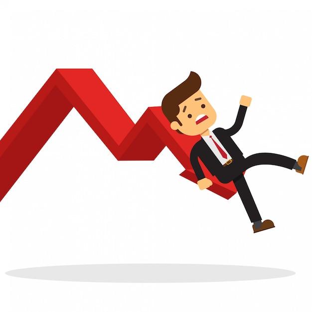 Geschäftsmann auf diagramm fallen Premium Vektoren