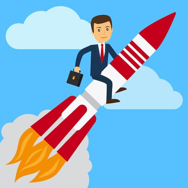 Geschäftsmann auf rakete im himmel Premium Vektoren