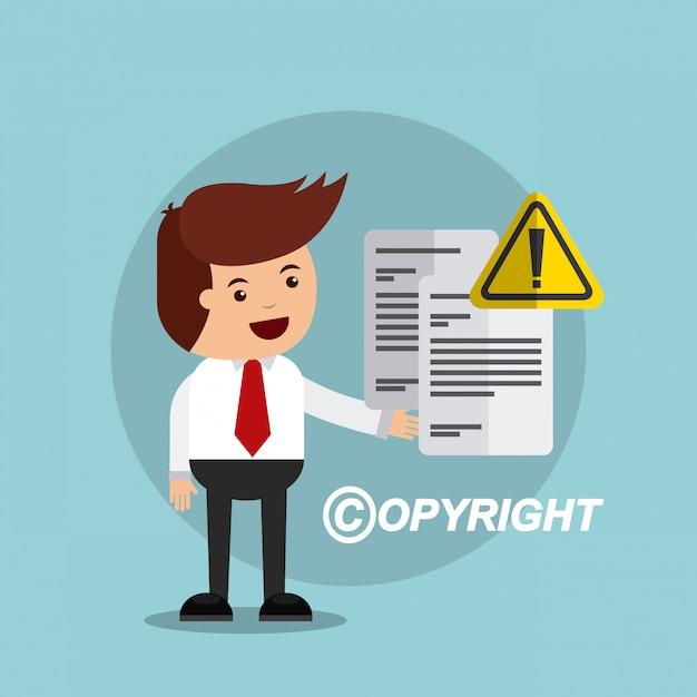 Geschäftsmann avatar mit copyright-konzept Premium Vektoren