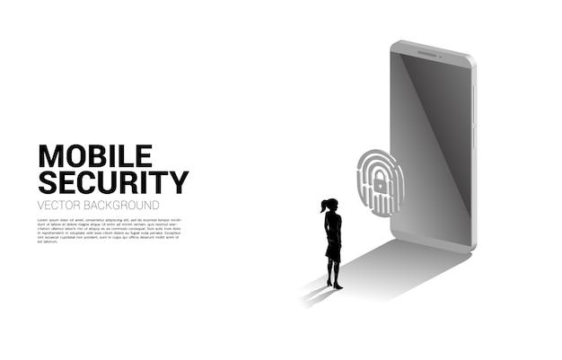 Geschäftsmann berühren daumenabdruck auf fingerscan-symbol 3d mit handy. hintergrundkonzept für sicherheits- und datenschutztechnologie im netzwerk Premium Vektoren