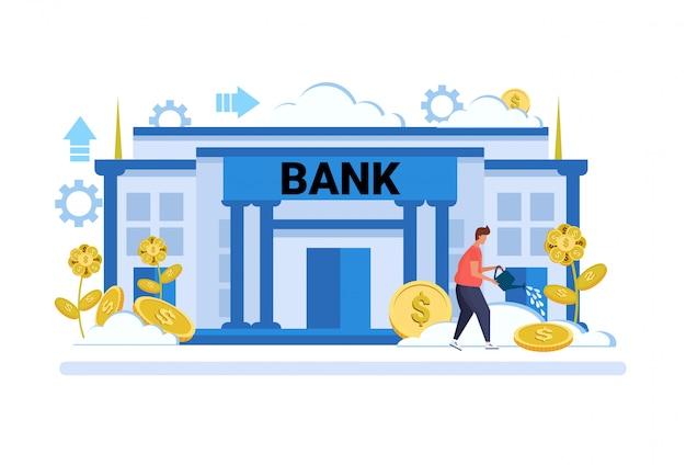 Geschäftsmann bewässerung dollar pflanzenwachstum reichtum anlagekonzept bankgebäude außen Premium Vektoren