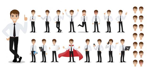 Geschäftsmann cartoon zeichensatz. hübscher geschäftsmann im intelligenten hemd der büroart. Premium Vektoren