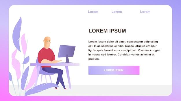 Geschäftsmann character work monitor landing page Premium Vektoren