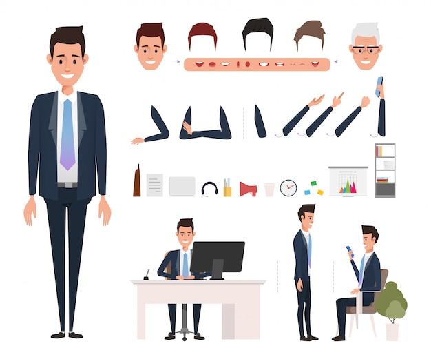 Geschäftsmann charakter erstellung für die animation. Premium Vektoren
