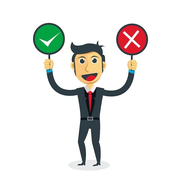 Geschäftsmann denkt richtig oder falsch Premium Vektoren