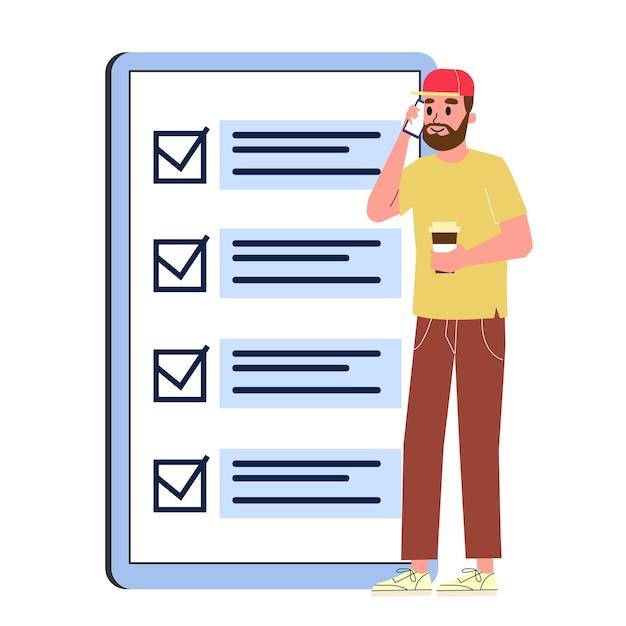 Geschäftsmann, der an der großen checkliste steht. charakterprüfplan auf dem papier. illustration Premium Vektoren
