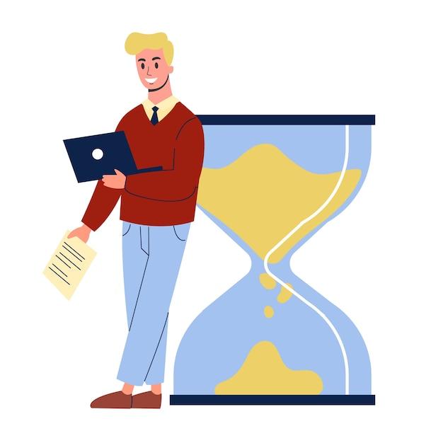 Geschäftsmann, der an der großen sanduhr steht. idee von zeitmanagement und planung. illustration im cartoon-stil Premium Vektoren