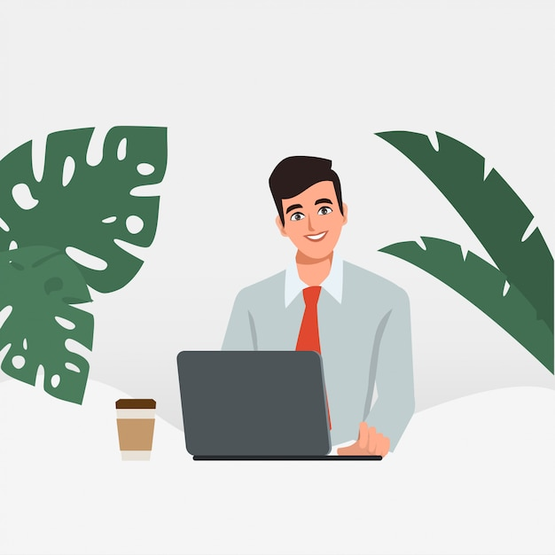 Geschäftsmann, der an einem laptop arbeitet. verwaltung am schreibtisch. geschäftsleute charakter. animationsszene für bewegungsgrafik. Premium Vektoren