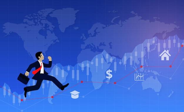 Geschäftsmann, der auf diagrammlinie zum ziel läuft, um erfolg zu erzielen Premium Vektoren
