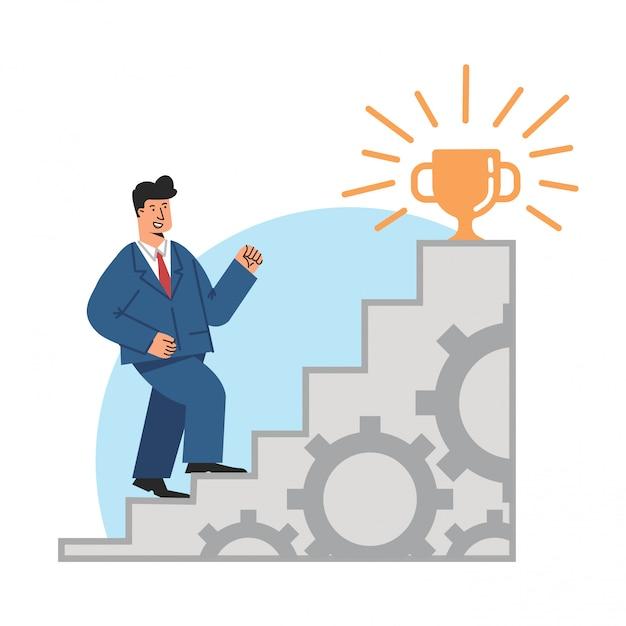 Geschäftsmann, der auf treppe tritt Premium Vektoren