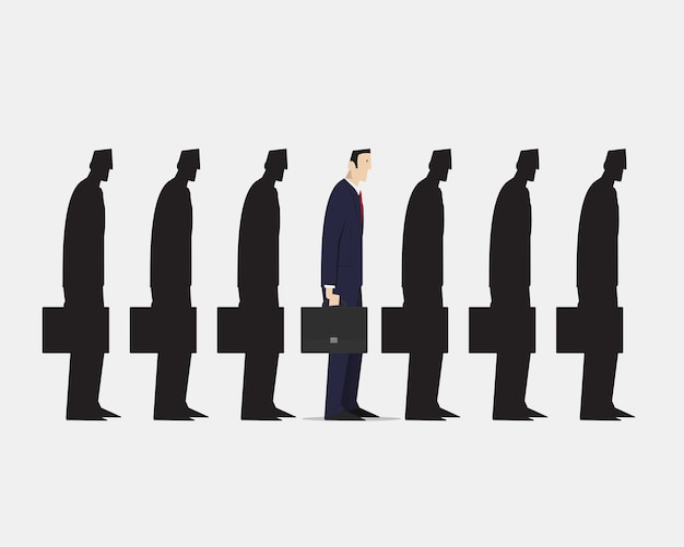 Geschäftsmann, der aus der menge der identischen schwarzen gefährten der gruppe auf weißem hintergrund herausragt. Premium Vektoren