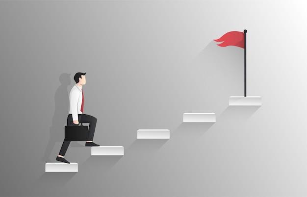 Geschäftsmann, der die treppe zur roten fahne auf oberem konzept geht. Premium Vektoren