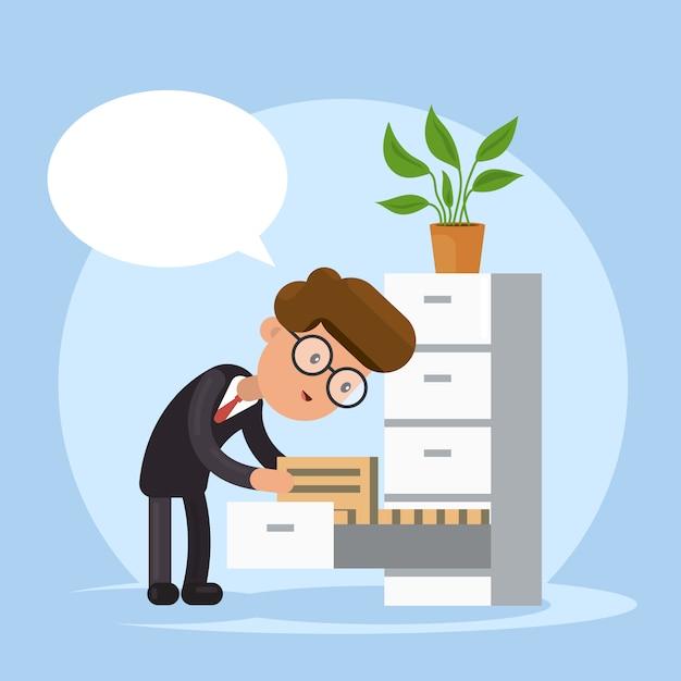 Geschäftsmann, der dokument im stapel von ordnern sucht. bürokratie. Premium Vektoren