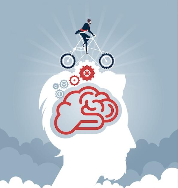 Geschäftsmann, der ein fahrrad mit gängen auf kopf fährt. geschäftskonzept vektor Premium Vektoren