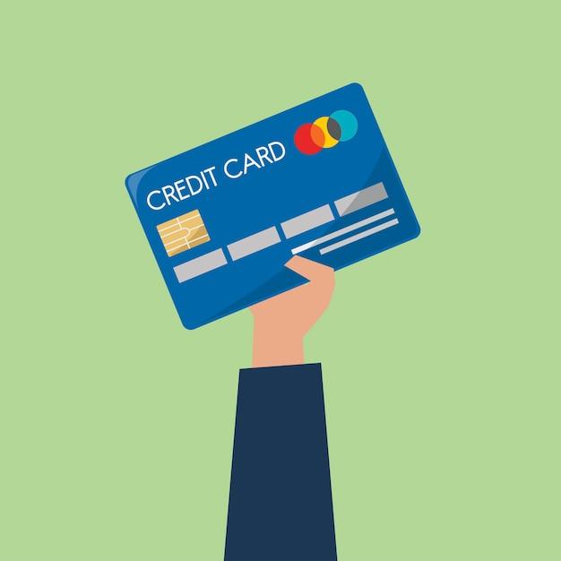 Geschäftsmann, der eine kreditkarte anhält Kostenlosen Vektoren