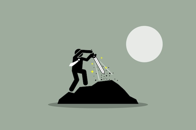 Geschäftsmann, der excalibur schwert von einem felsen herauszieht. die abbildung zeigt das konzept von schicksal, erfolg, perspektive, potenzial, auserwähltem und schicksal. Premium Vektoren