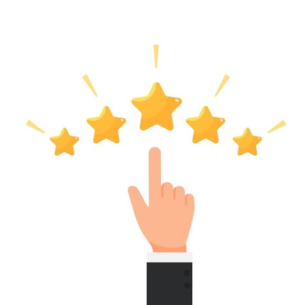 Geschäftsmann, der feedbackring-konzeptvektor mit fünf sternen bewertet Premium Vektoren