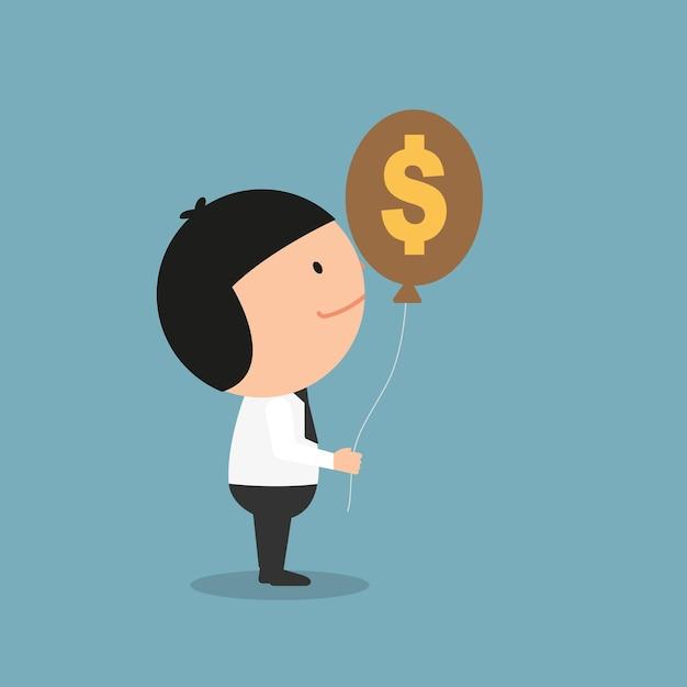 Geschäftsmann, der gelddollarzeichenballon hält. illustration Premium Vektoren