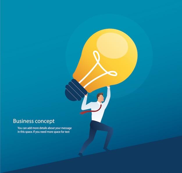 Geschäftsmann, der glühlampekonzept des kreativen denkens trägt Premium Vektoren