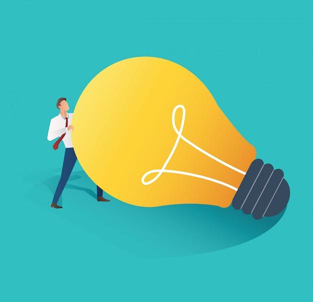 Geschäftsmann, der glühlampevektor hält Premium Vektoren