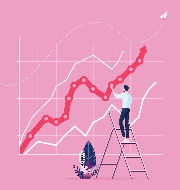 Geschäftsmann, der großes diagramm auf wand zeichnet. erfolgskonzept Premium Vektoren