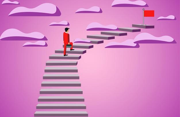 Geschäftsmann, der herauf treppenhaus geht, um rote fahne anzuvisieren. geschäftserfolg ziel. führung Premium Vektoren