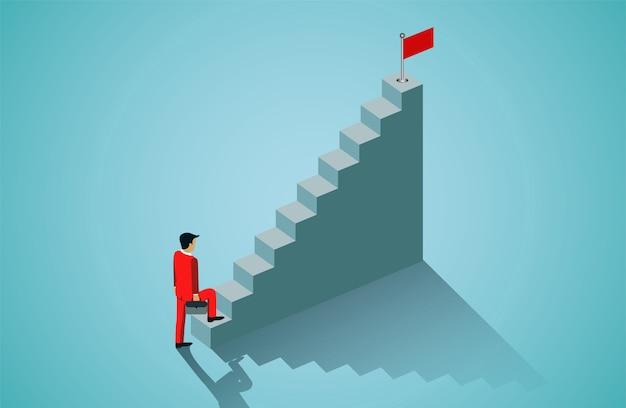 Geschäftsmann, der herauf treppenhaus geht, um rote fahne anzuvisieren Premium Vektoren