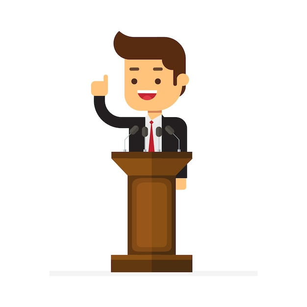 Geschäftsmann, der hinter rostrum steht und eine rede gibt Premium Vektoren