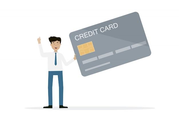 Geschäftsmann, der kreditkarte hält Premium Vektoren