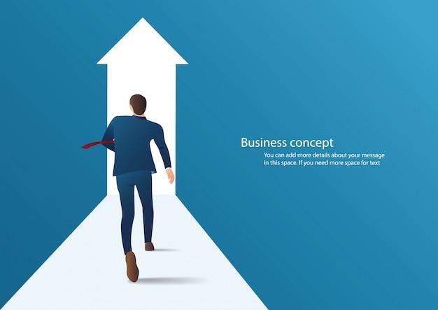 Geschäftsmann, der läuft, um in einem karrierevektor erfolgreich zu sein Premium Vektoren