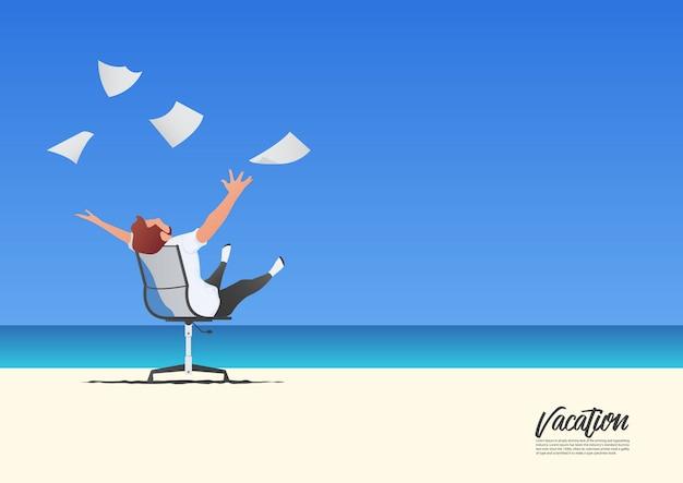 Geschäftsmann, der mit dem werfen von weißbüchern während seiner sommerferien entspannt. konzept zur vereinbarkeit von freiheit und berufsleben. blauer gradientenhimmel. Premium Vektoren