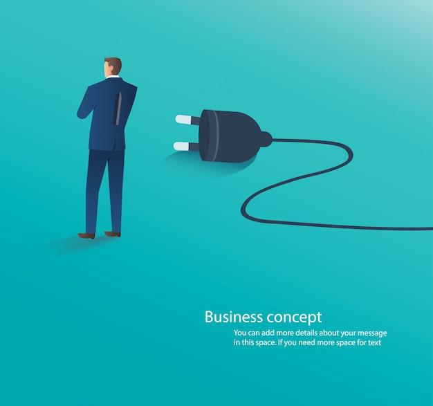 Geschäftsmann, der mit elektrischem stecker steht Premium Vektoren