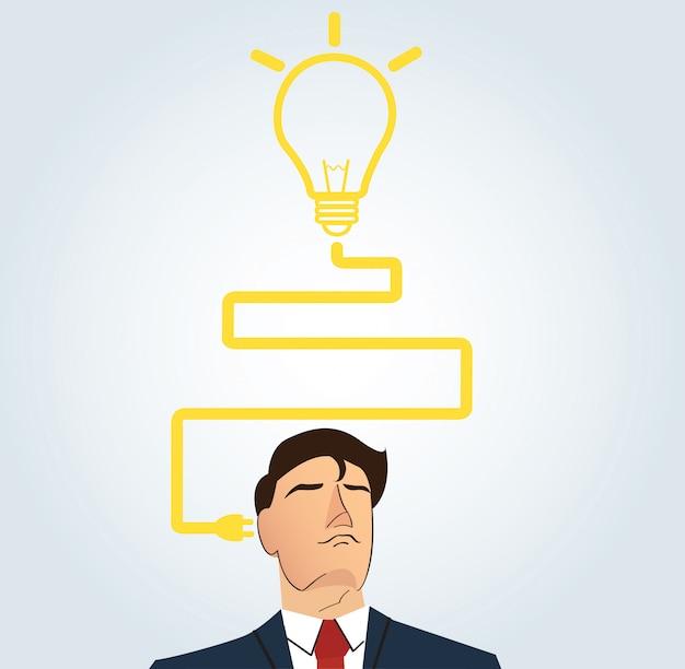 Geschäftsmann, der mit glühlampeform denkt Premium Vektoren