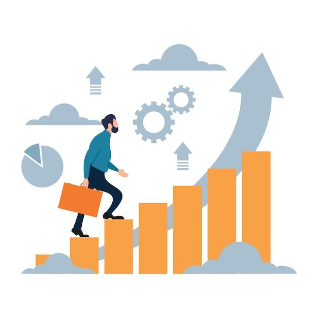 Geschäftsmann, der oben für erfolgreiches ziel klettert Premium Vektoren