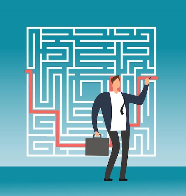 Geschäftsmann, der rechten weg zum erfolg im komplexen labyrinth, labyrinth zeichnet. kreatives vektorkonzept der einfachen lösung Premium Vektoren