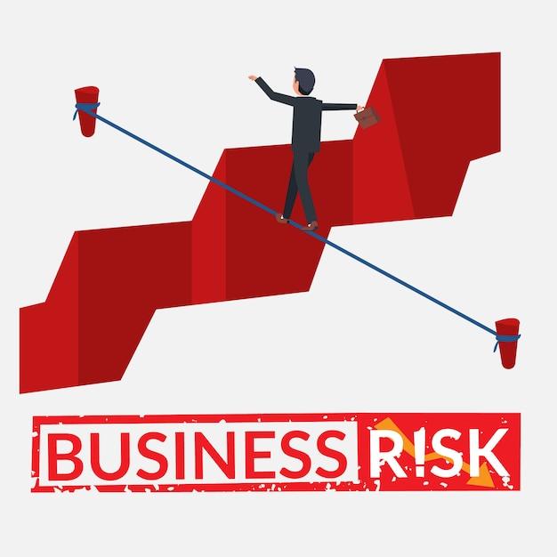 Geschäftsmann, der risiko eingeht Premium Vektoren