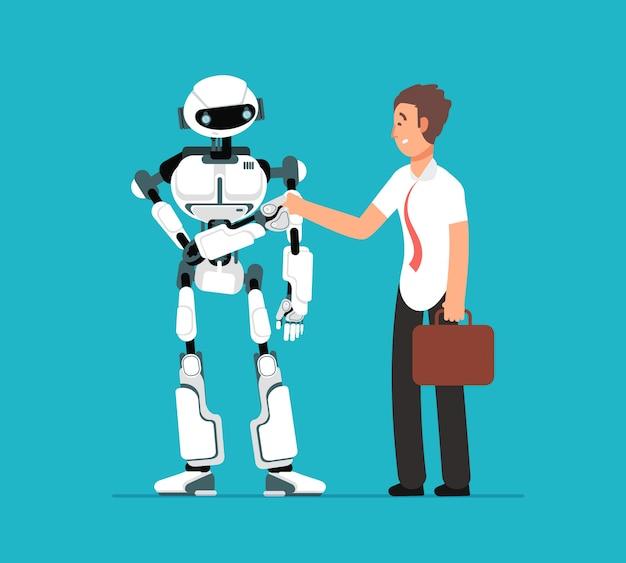 Geschäftsmann, der roboterhand rüttelt Premium Vektoren