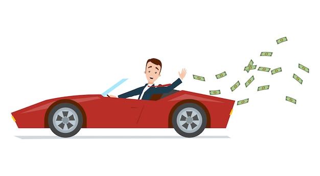 Geschäftsmann, der roten sportwagen fährt und geld wegwirft Premium Vektoren