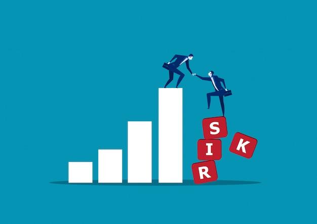 Geschäftsmann, der seinem partner hilft, diagramm zu riskieren Premium Vektoren