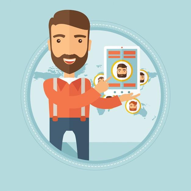 Geschäftsmann, der tablette mit social media hält. Premium Vektoren