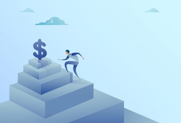 Geschäftsmann, der treppe zum dollarzeichen-finanzwachstums-erfolgs-konzept steigt Premium Vektoren