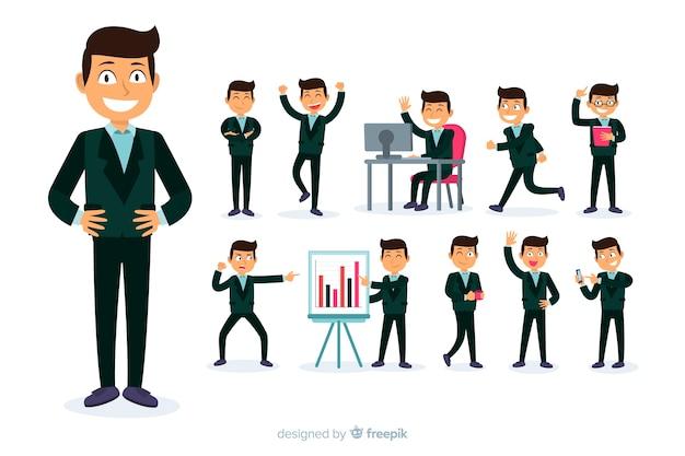 Geschäftsmann, der verschiedene aktionen tut Kostenlosen Vektoren